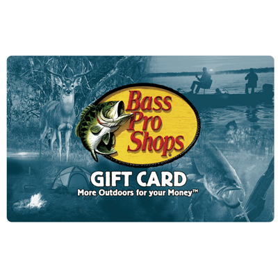BASS PRO SHOPS<sup>®</sup> $25 Gift Card - Use this gift card for all of your outdoor recreation needs.