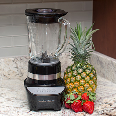 HAMILTON BEACH<sup>&reg;</sup> Wave Maker<sup>&reg;</sup> Blender - Powerful 700 watts blender features 2 speeds plus pulse for blending, chopping and pureeing.  Revolutionary Wave-Action<sup>&reg;</sup> system continuously pulls blender contents down into blades for smooth results every time. Blender uses 48 oz. glass jar and easy-clean touchpad controls.