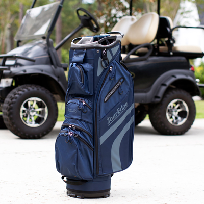 TOUR EDGE<sup>&reg;</sup> HL4 Cart Golf Bag - Transport your clubs and belongings easily on the golf course. Features 14-way divider top with molded handle, two extra-large garment pockets, towel ring with Velcro glove holder, two waterproof velour-lined dry pockets, large insulated beverage pocket, and cart strap loop.
