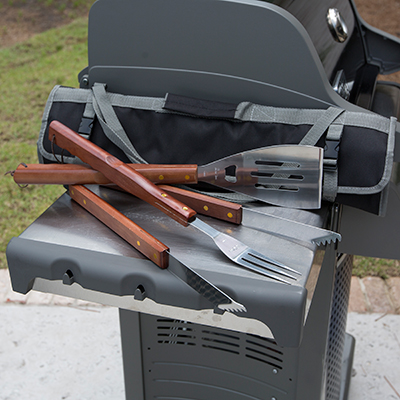 PICNIC TIME<sup>®</sup> 3-Piece BBQ Tote - This stainless steel set features a large spatula, tongs, and BBQ fork - all with wooden handles! Tools come in a folding tote with reinforced closure straps and an adjustable shoulder strap.