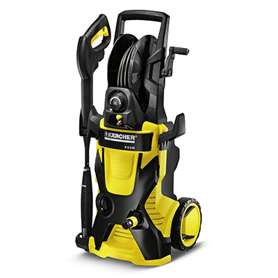 KARCHER<sup>&reg;</sup> Electric Pressure Washer - This pressure washer features 2000 PSI, an innovative, patented water-cooled induction motor for better performance and longer life, quick connect water inlet and outlet, and large wheels for easy transportation.  Also includes a pressurized hose reel, trigger gun with total stop function and child safety lock, Dirtblaster<sup>&reg;</sup> spray wand and Vario power spray wand.