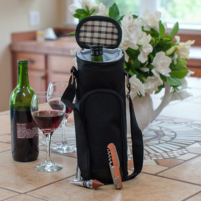 Wine Bottle Tote & Corkscrew - Carry your favorite wine in this single bottle tote. Includes a deluxe, high quality waiter's corkscrew and wine stopper.